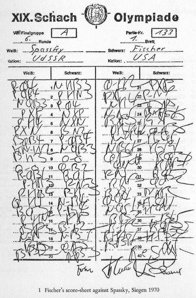 Grandmaster Scoresheets Best Handwriting Contest