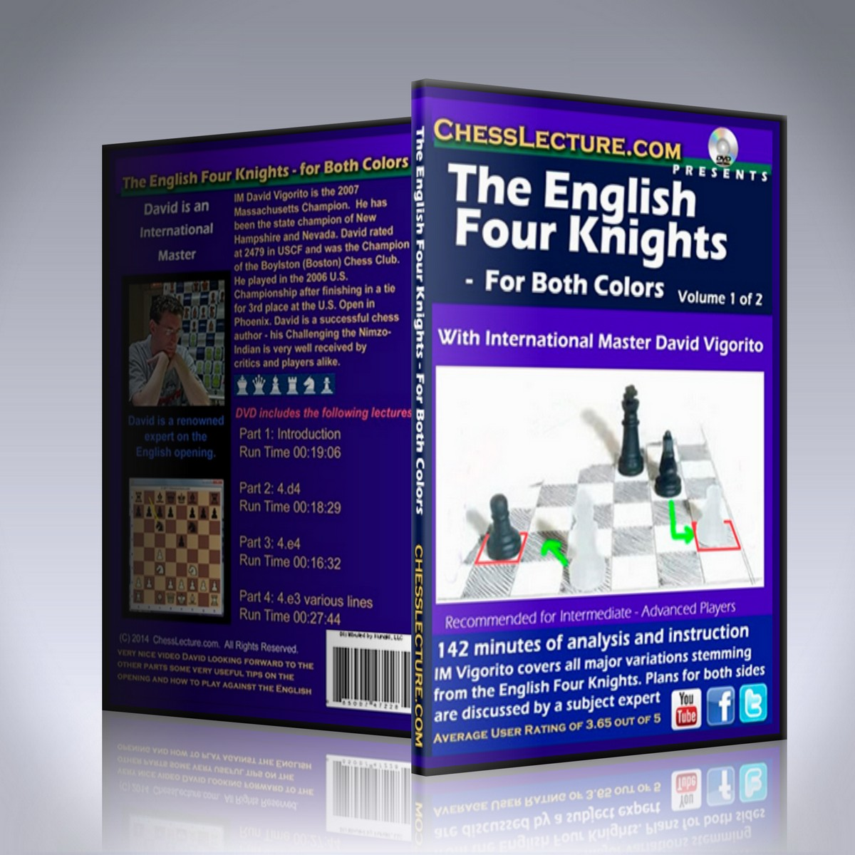The English Four Knights – For Both Colors 2 DVD set – IM David Vigorito